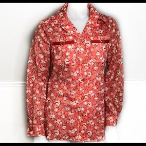 Sir Julian Polyester 1970's Pointed Collar Floral